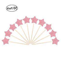 pink glitter star cake topper