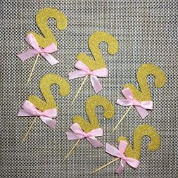 Pink and Gold 2nd Birthday Decorations.Number 2 Cupcake Topp