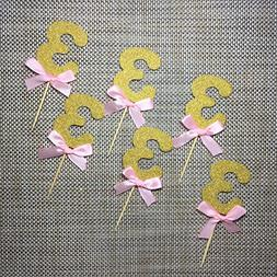 Pink and Gold 3rd Birthday Decorations.Number 3 Cupcake Topp
