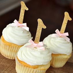 Pink and Gold 1st Birthday Decorations. Number Cupcake Toppe
