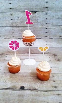 Pink Lemonade Cupcake Toppers - pink and yellow party