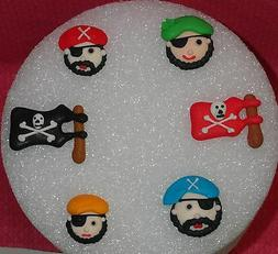 Pirate Edible Sugar Royal Icing Cupcake Toppers Multi-Color,Decoration DecoPac