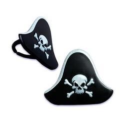 Pirate Hat Cupcake Rings - 24 count