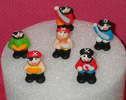 Pirates,3-D Edible Sugar Cupcake Toppers,Royal Icing,DecoPac