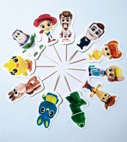😎Pixar Toy Story 4 Cupcake Toppers Picks Kids Birthday Pa