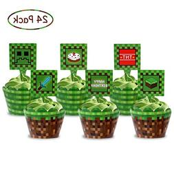 Pixel Cupcake Toppers and Wrapper Happy Birthday Party Print