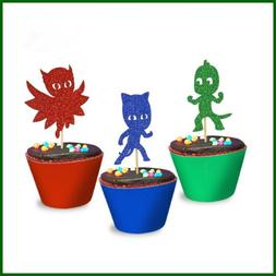 PJ Inspired Glitter Masks Cupcake Toppers Party Supplies Kid