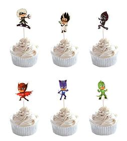 Party Hive 24pc PJ Mask Cupcake Toppers for Birthday Party E