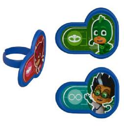 PJ Masks Cupcake Toppers Rings Heroes & Villians Birthday Pa
