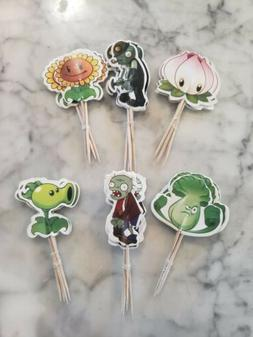 Plants vs Zombies Cupcake Toppers Picks Kids Birthday Party