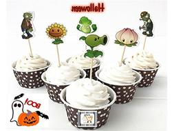Plants vs. Zombies Cupcake toppers ,Halloween, Birthday, eve