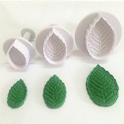 3-piece Plastic Veined Rose Leaf Plunger Cutter Set Fondant