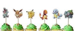 Set of 24 Pokemon inspired Cupcake Toppers food picks double