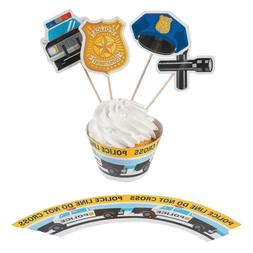 Fun Express Police Party Cupcake Wrappers with Picks - Makes
