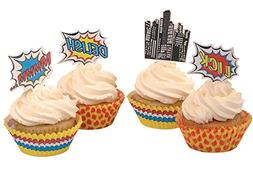 Ginger Ray Pop Art Superhero Party Decorations Cupcake Toppe