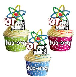 PRECUT Science Atom Symbol - 12 Birthday Cup Cake Toppers AN