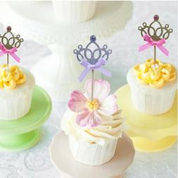 Princess Party Decoration Glitter Crown  Cupcake Toppers Cak