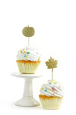 24 pc. Pumpkin and Leaf Gold Glitter Cupcake Toothpick Toppe