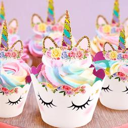 Rainbow Unicorn <font><b>Cupcake</b></font> Wrappers Cake <f