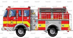 Red Fire Truck Birthday ~ Edible 2D Fondant Cake Cupcake Top