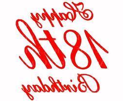 Red Happy 18th Birthday ~ Edible 2D Fondant Cake Cupcake Top