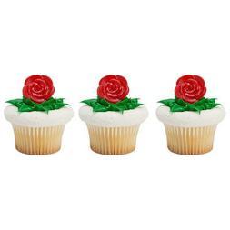 24pack Red Rose Cupcake/Desert/Food Decoration Topper Rings