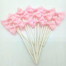 Paity Ribbon Bow Party Wedding Cupcake Toppers Birthday Cake