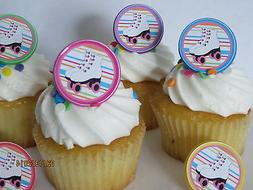 Roller Skating rings cupcake toppers - 12ct - skate party bi