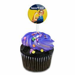 Rosie the Riveter Girl Power Cake Cupcake Toppers Picks Set