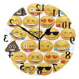FunnyCustom Round Wall Clock Emoji Cupcake Toppers Acrylic C