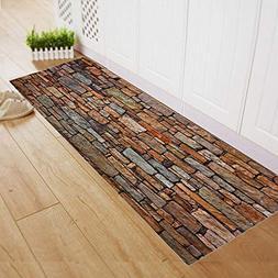 Runner Rugs 3D Stone Brick Design Non-skid Hallway Carpet En