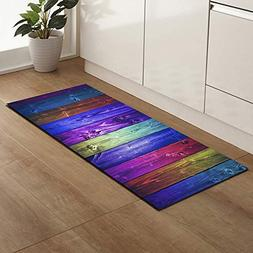 Runner Rugs Colorful Wood Board Printing Rectangle Rubber Ba