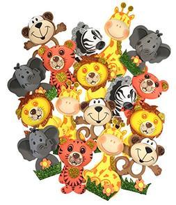 AVELLIM 18 Small Safari Jungle Zoo Animals  Foam Decorations