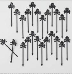Set 24 Black Skull & Crossbones Cocktail Appetizer Picks Cup