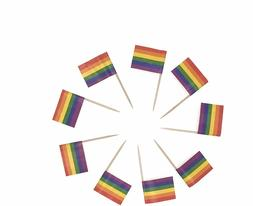 Set of 100 Rainbow Flag Picks Cupcake Toppers Pride 50