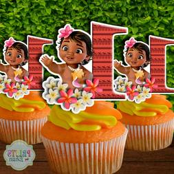 Set of 12 BABY MOANA #1 Cupcake Toppers, Cupcake Picks, Cupc
