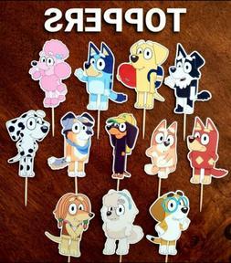 Set of 12 BLUEY Cupcake Toppers, Cupcake Picks, Cupcake Deco