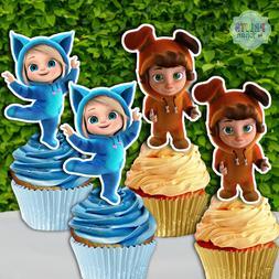 Set of 12 DAVE and AVA Cupcake Toppers, Cupcake Picks, Cupca