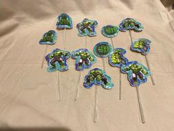 Set of 12 Hulk  Cake Picks Cupcake Toppers with Picks 6 Desi