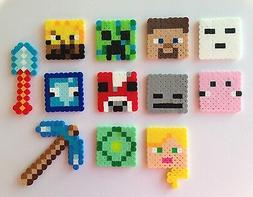 Set of 12 Minecraft Birthday Cake Cupcake Toppers Perler Bea