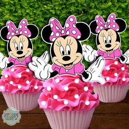 Set of 12 MINNIE MOUSE Cupcake Toppers, Cupcake Picks, Cupca