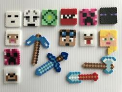 Set of 16 Minecraft Birthday Cake Cupcake Toppers Perler Bea