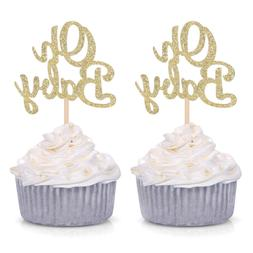 Giuffi Set of 24 Golden Oh Baby One Cupcake Toppers Party De