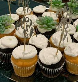 Giuffi Set of 24 SILVER Oh Boy Cupcake Toppers Party Decors