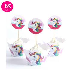Set of 24 UNICORN Cupcake Toppers and Wrappers for birthday