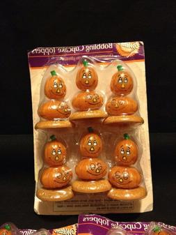 Set Of 3 Wilton Bobbling Pumpkin Cake Cupcake Toppers Pack O