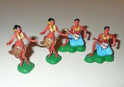 Set of 4 HAWAIIAN LUAU HULA DANCERS Cake Toppers Cupcake Dec