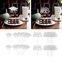 Set of 40pcs 2018 Graduation Cap Cupcake Toppers Food Picks