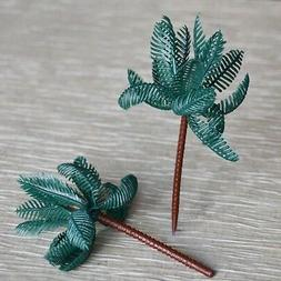 Set of 8 Large Palm Tree Cupcake Cake Toppers Tropical Beach