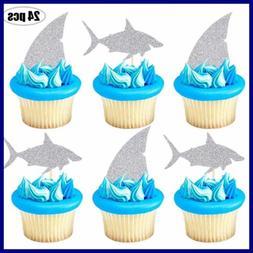 Shark Cupcake Toppers SILVER Glitter Fin Cake Ocean Animals